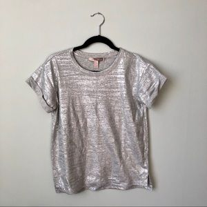 FOREVER 21 💎 Silver Foil Tee